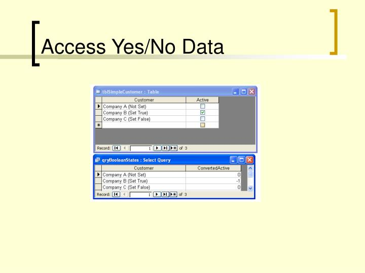 Access Yes/No Data