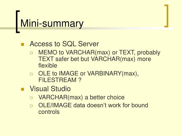 Mini-summary