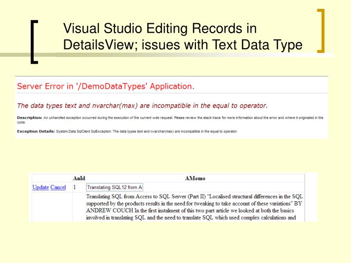 Visual Studio Editing Records in DetailsView; issues with Text Data Type
