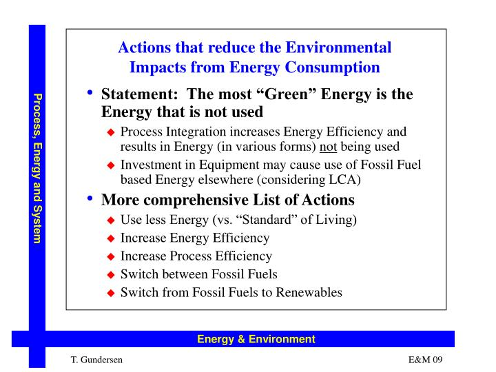 Actions that reduce the Environmental Impacts from Energy Consumption