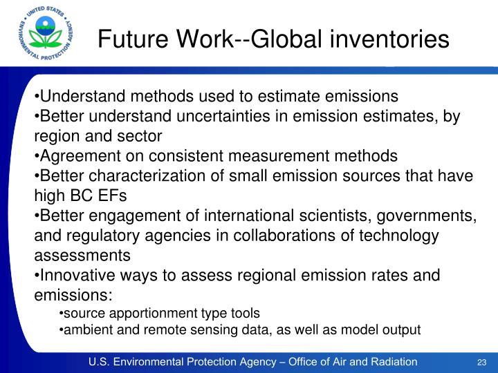 Future Work--Global inventories