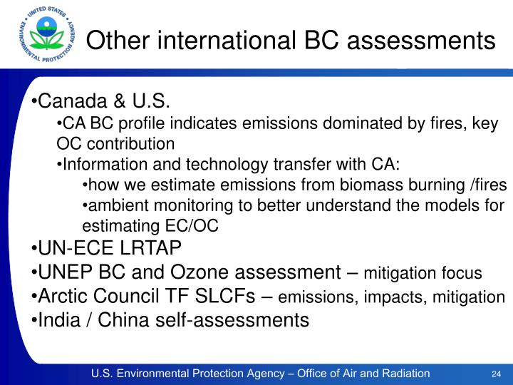 Other international BC assessments