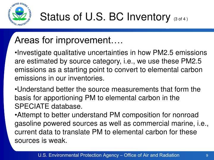 Status of U.S. BC Inventory