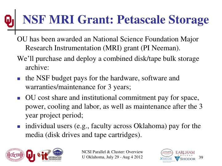 NSF MRI Grant: Petascale Storage