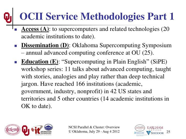 OCII Service Methodologies Part 1