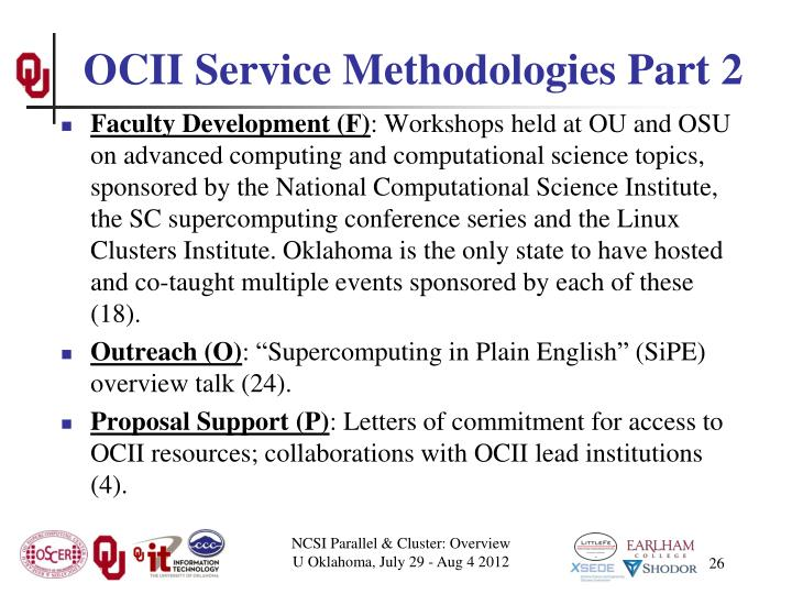 OCII Service Methodologies Part 2