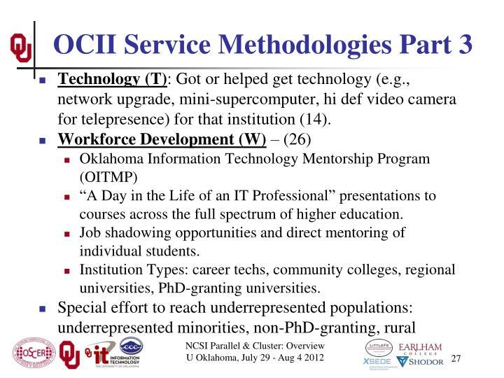OCII Service Methodologies Part 3