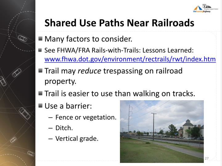Shared Use Paths Near Railroads