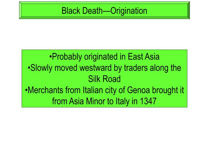 Black Death—Origination