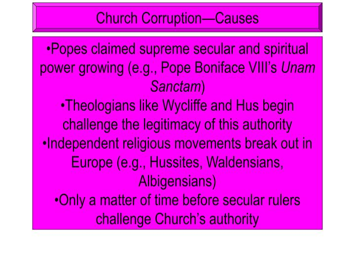 Church Corruption—Causes