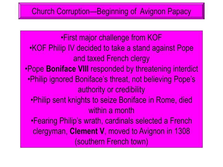 Church Corruption—Beginning of  Avignon Papacy