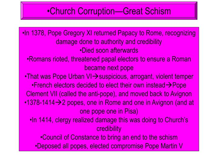 Church Corruption—Great Schism