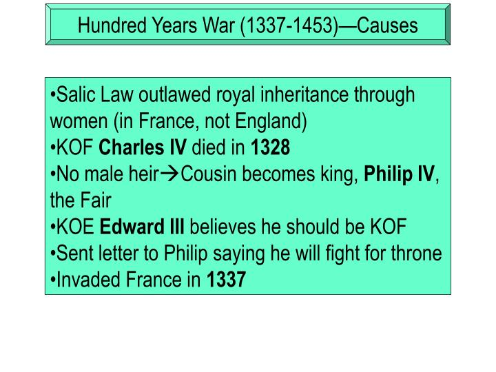 Hundred Years War (1337-1453)—Causes