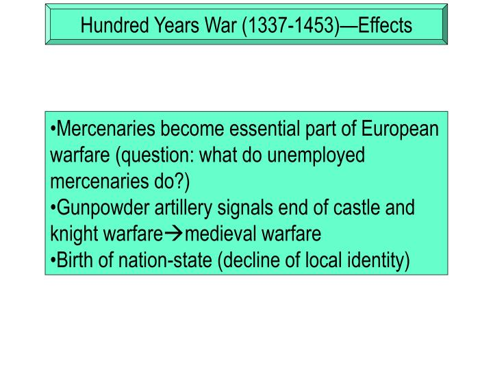 Hundred Years War (1337-1453)—Effects