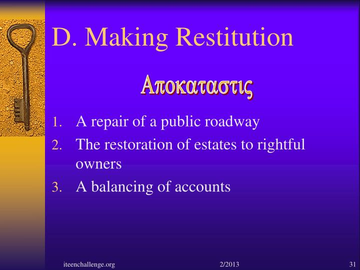 D. Making Restitution