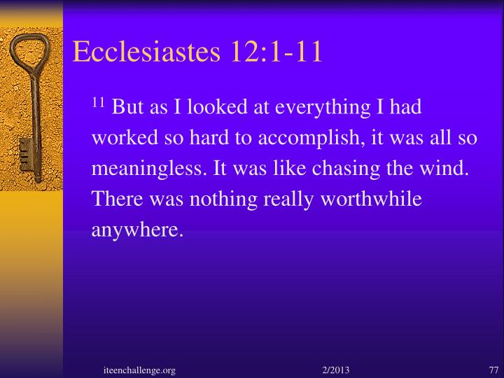 Ecclesiastes 12:1-11