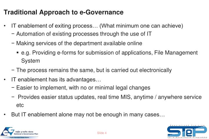 Traditional Approach to e-Governance