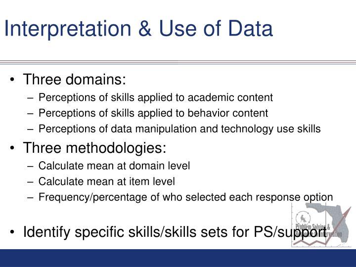 Interpretation & Use of Data