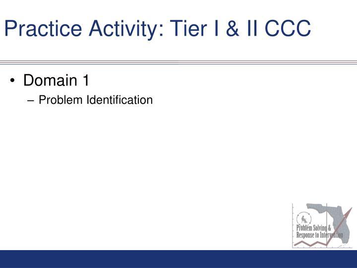 Practice Activity: Tier I & II CCC