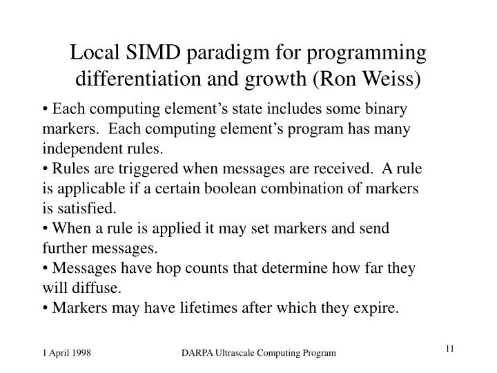 Local SIMD paradigm for programming differentiation and growth (Ron Weiss)