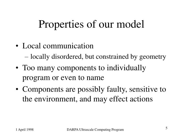 Properties of our model