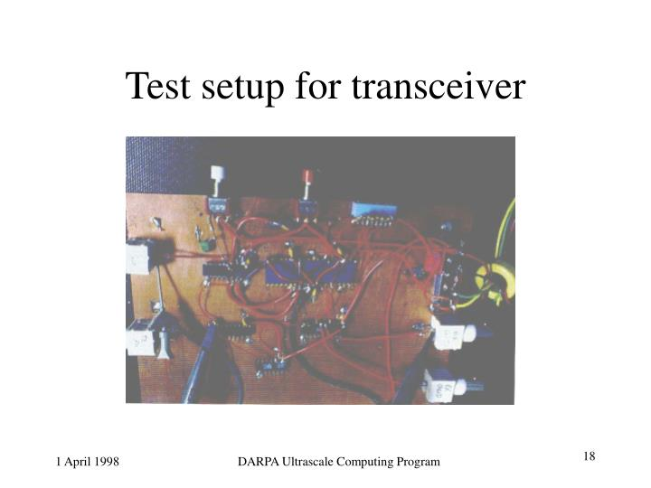 Test setup for transceiver