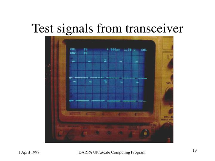 Test signals from transceiver