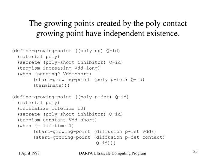 The growing points created by the poly contact growing point have independent existence.