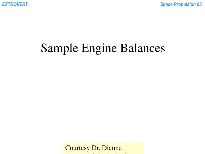 Sample Engine Balances