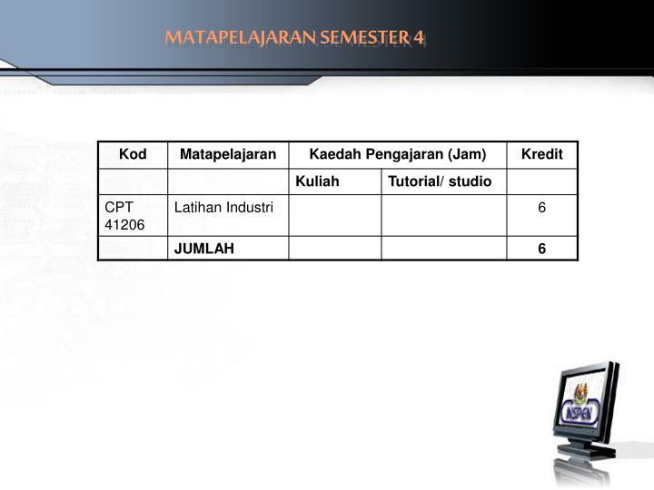 MATAPELAJARAN SEMESTER 4