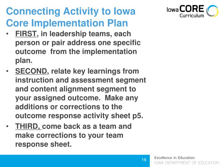 Connecting Activity to Iowa Core Implementation Plan