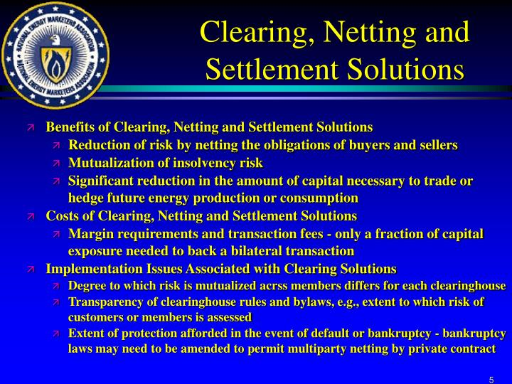 Clearing, Netting and Settlement Solutions