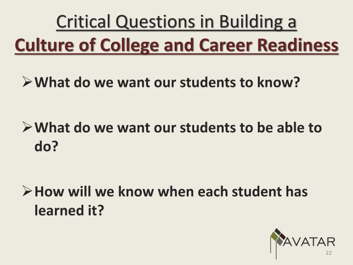 Critical Questions in Building a