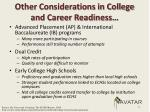 other considerations in college and career readiness