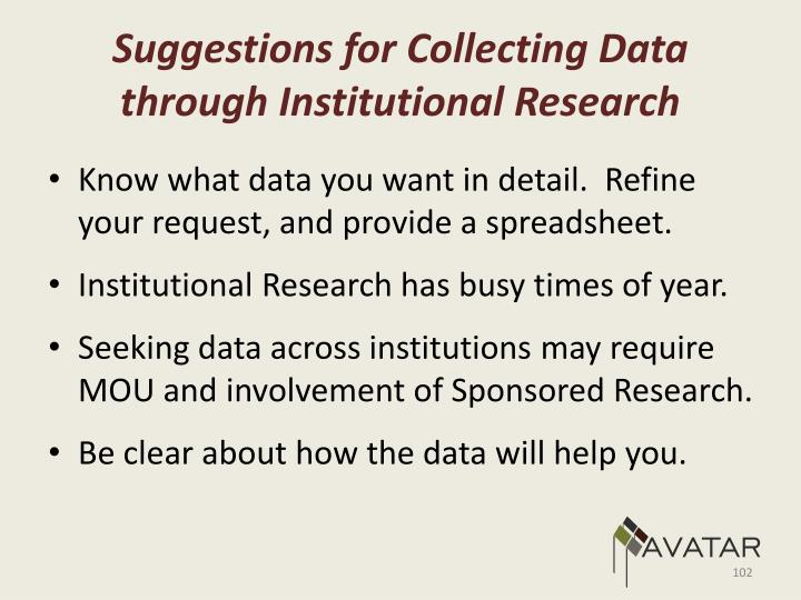 Suggestions for Collecting Data through Institutional Research
