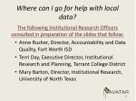 where can i go for help with local data1