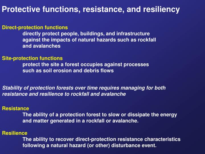 Protective functions, resistance, and resiliency