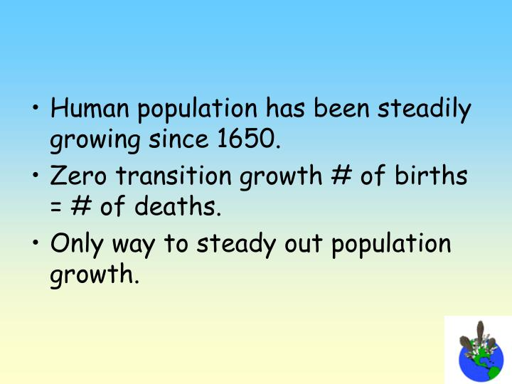 Human population has been steadily growing since 1650.