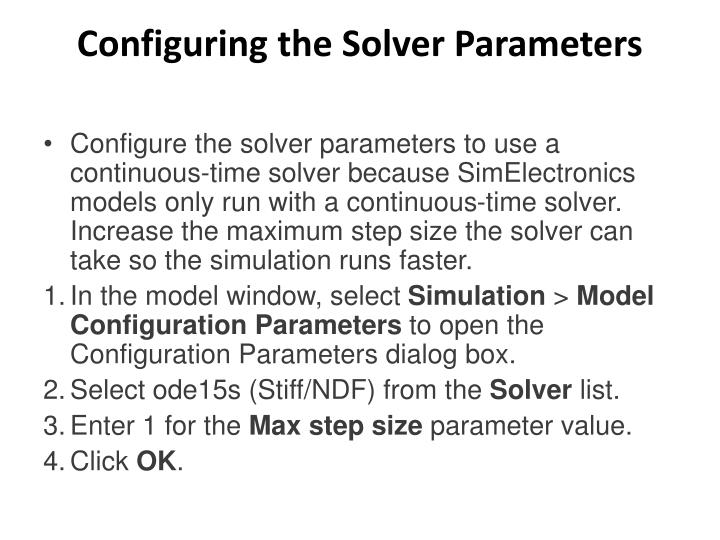 Configuring the Solver Parameters