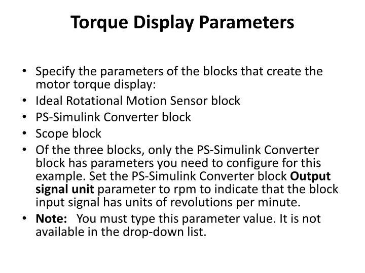 Torque Display Parameters