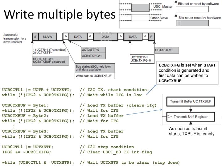 Write multiple bytes