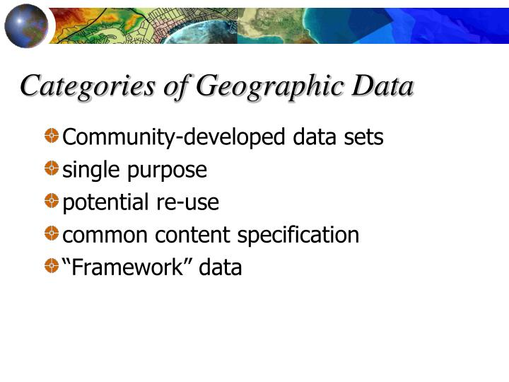 Categories of Geographic Data