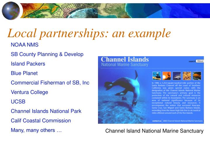 Local partnerships an example