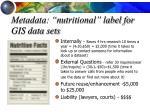 metadata nutritional label for gis data sets