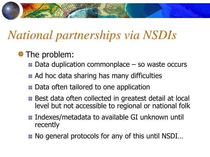 National partnerships via NSDIs