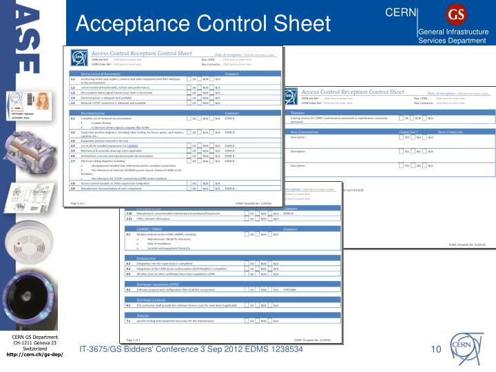 Acceptance Control Sheet