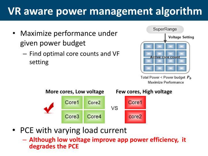 VR aware power management algorithm