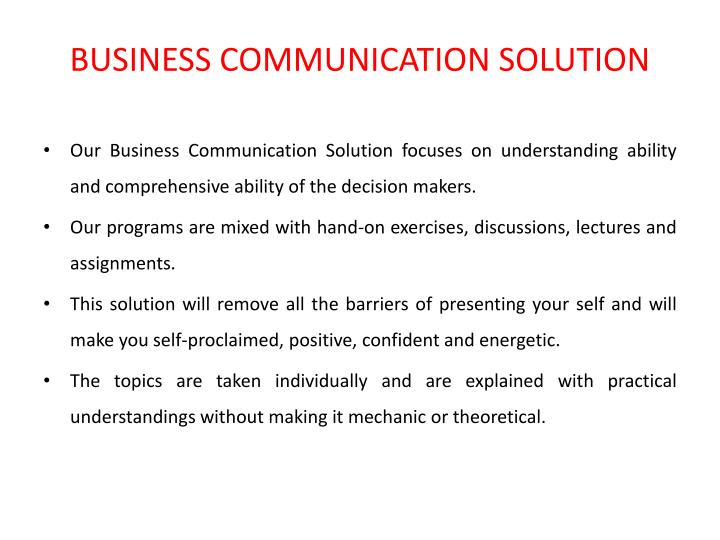 BUSINESS COMMUNICATION SOLUTION