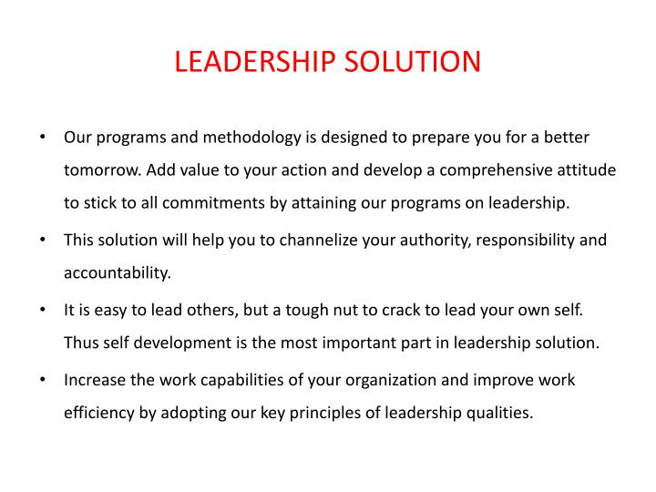 LEADERSHIP SOLUTION