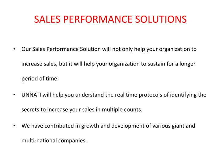 SALES PERFORMANCE SOLUTIONS